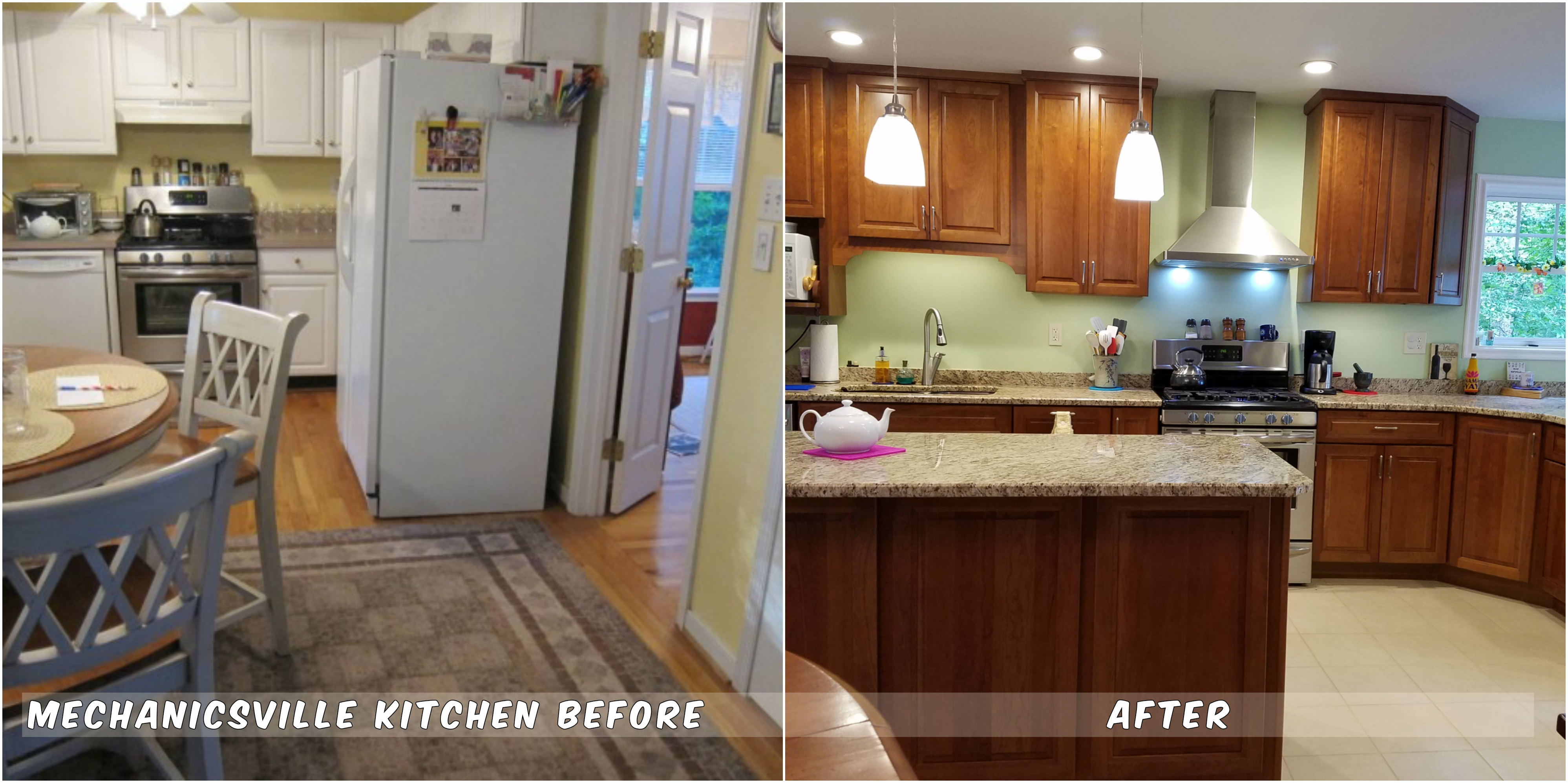 Before and after of kitchen remodel by ODI