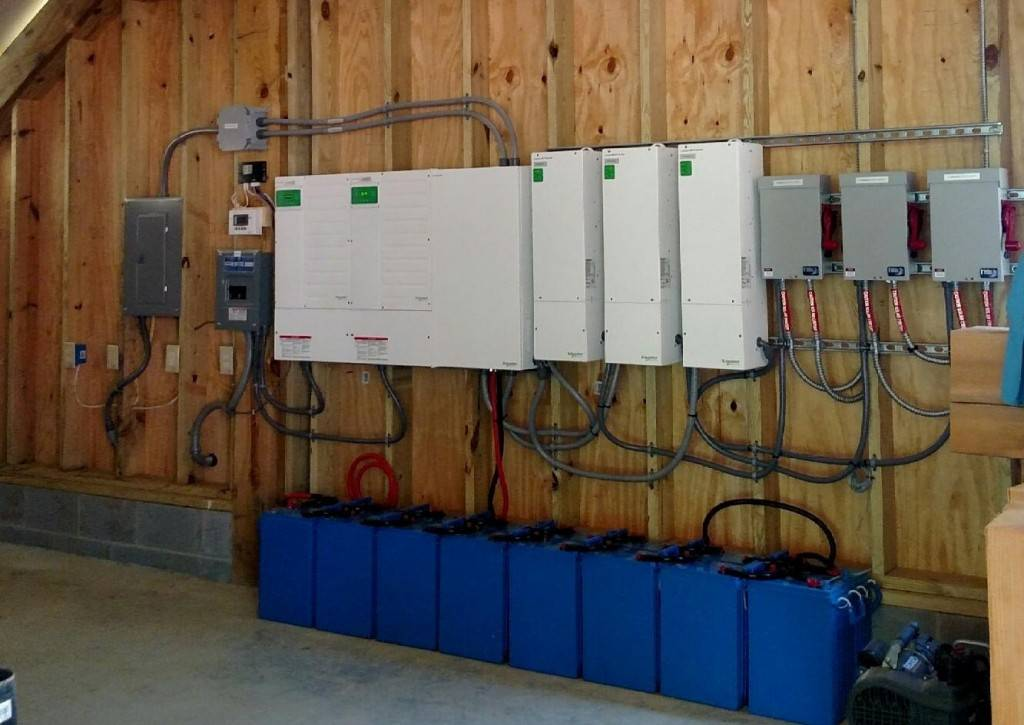 Here's a look at a battery bank and inverters of an off grid system